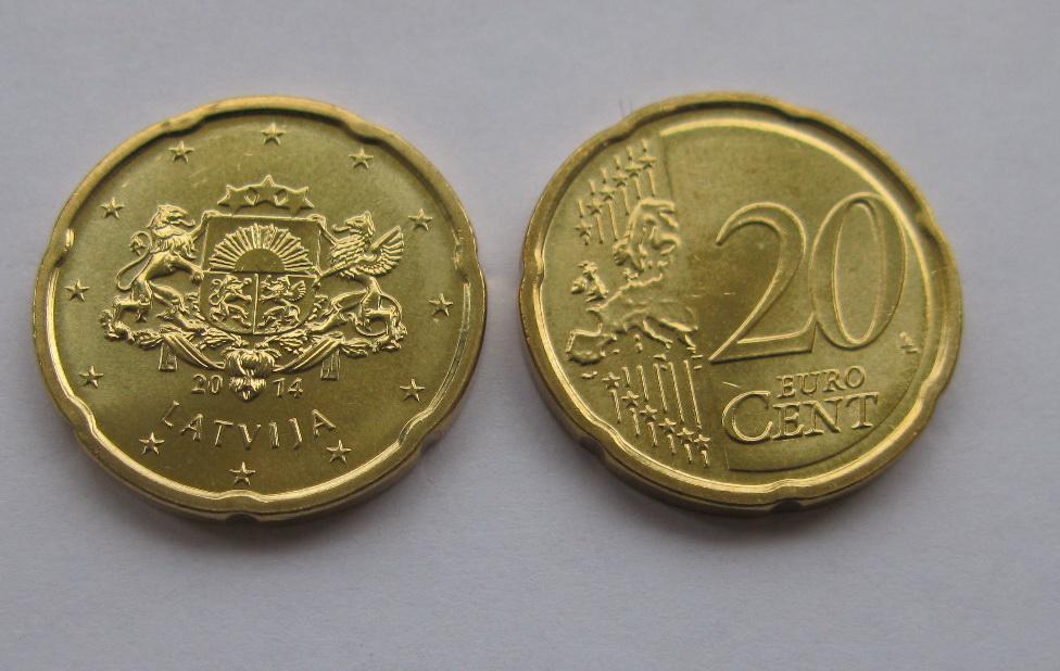 Латвия 20 евро центов 2014 г.