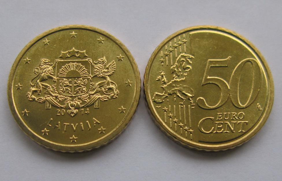 Латвия 50 евро центов 2014 г.
