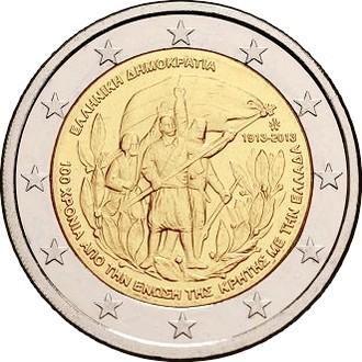 Греция 2 евро 2013 г.   100-летие воссоединения с Критом
