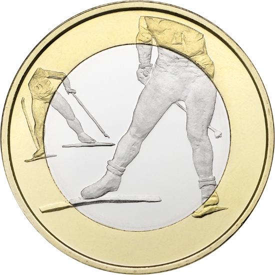 Финляндия 5 евро 2016 г.  Беговые лыжи