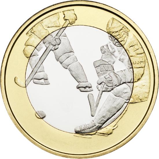 Финляндия 5 евро 2016 г.  Хоккей