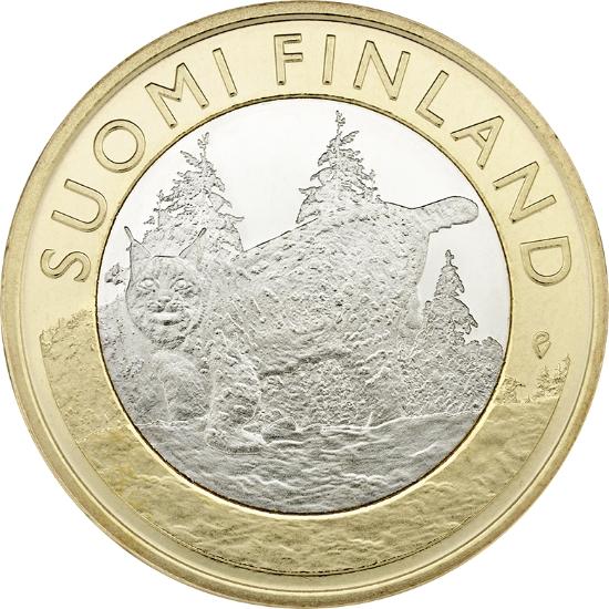 Финляндия 5 евро 2015 г. Провинция Тавастия - рысь