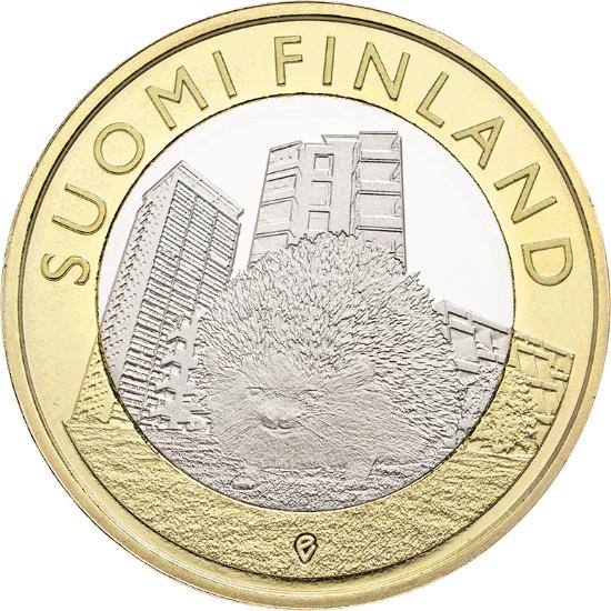 Финляндия 5 евро 2015 г.  Провинция Уусимаа - ёж