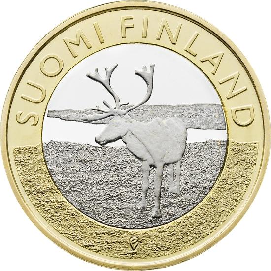 Финляндия 5 евро 2015 г.  Провинция Лапландия - олень