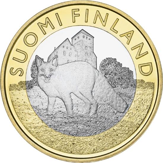 Финляндия 5 евро 2014 г.  Фауна провинций - лисица