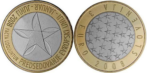 Словения 3 евро 2008 г. Председательство в ЕС