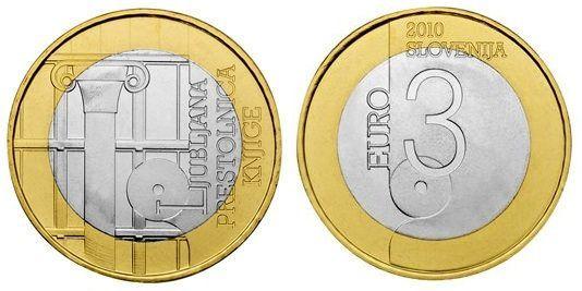 Словения 3 евро 2010 г. Любляна-всемирная столица книги