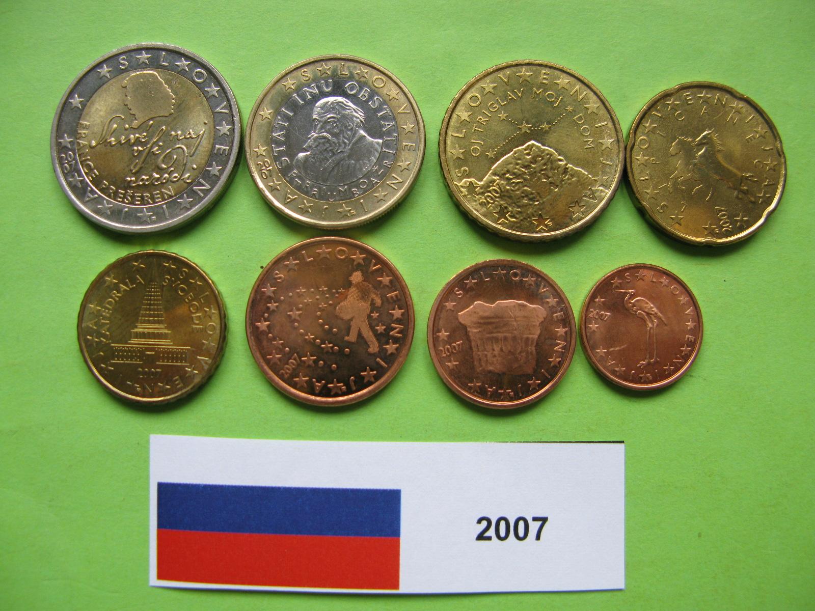 Словения набор евро  2007 г. UNC