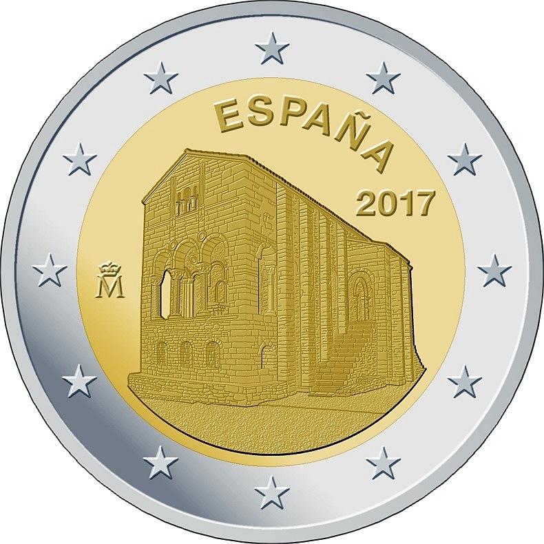 Испания 2 евро 2017 г.  Церковь в Овьедо