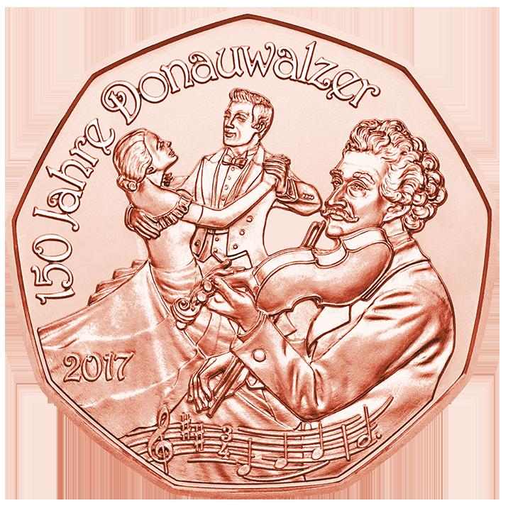 Австрия  5 евро 2016 г. Дунайский вальс