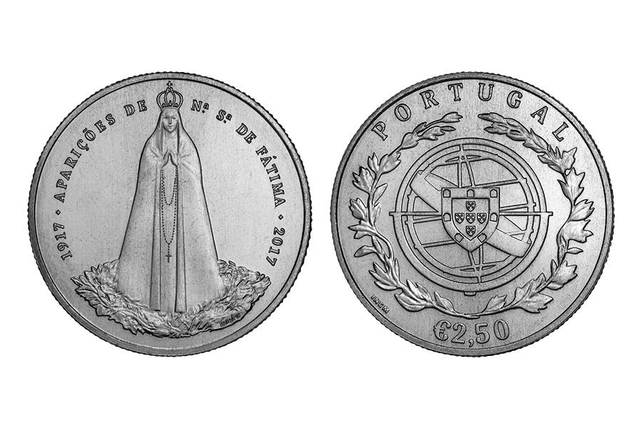 Португалия 2,5 евро 2017 г. Фатима