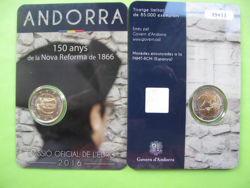 Андорра 2 евро 2016 г. 150-летие новой реформы 1866 г.