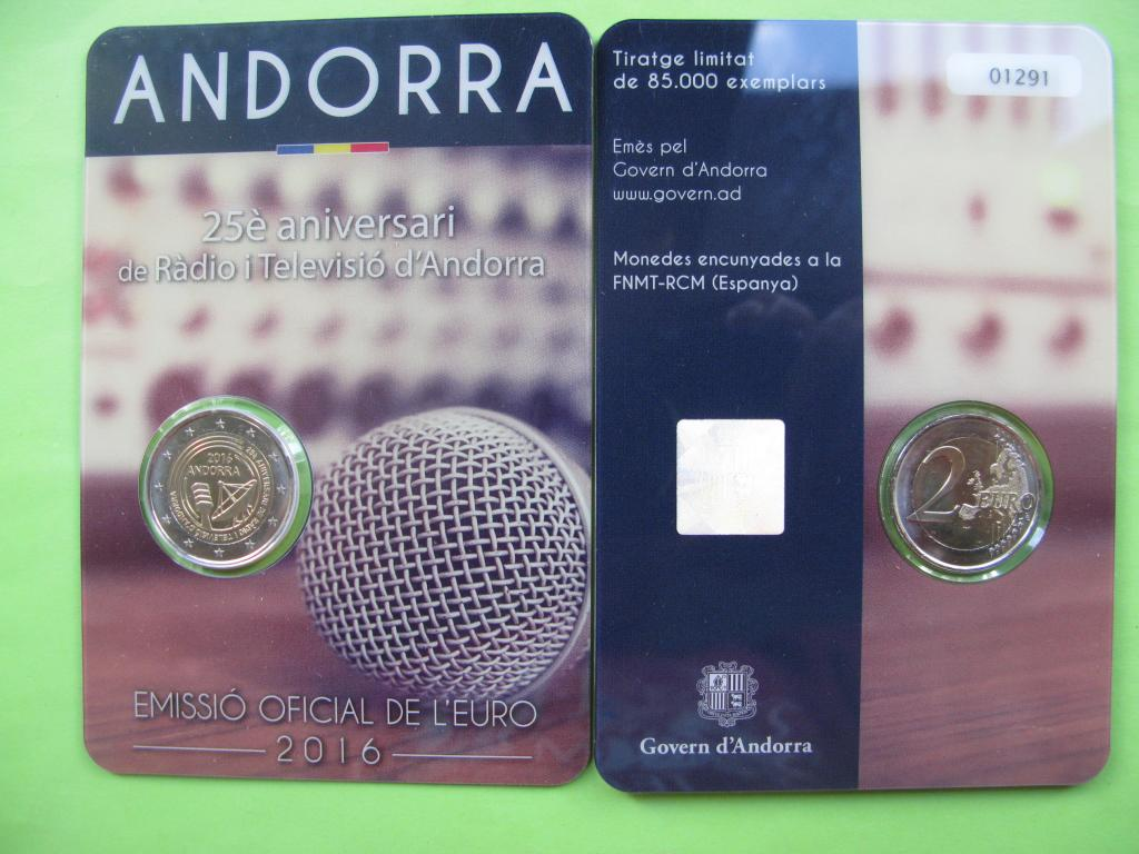 Андорра 2 евро 2016 г.  25-летие радио- и телевещания в Андорре