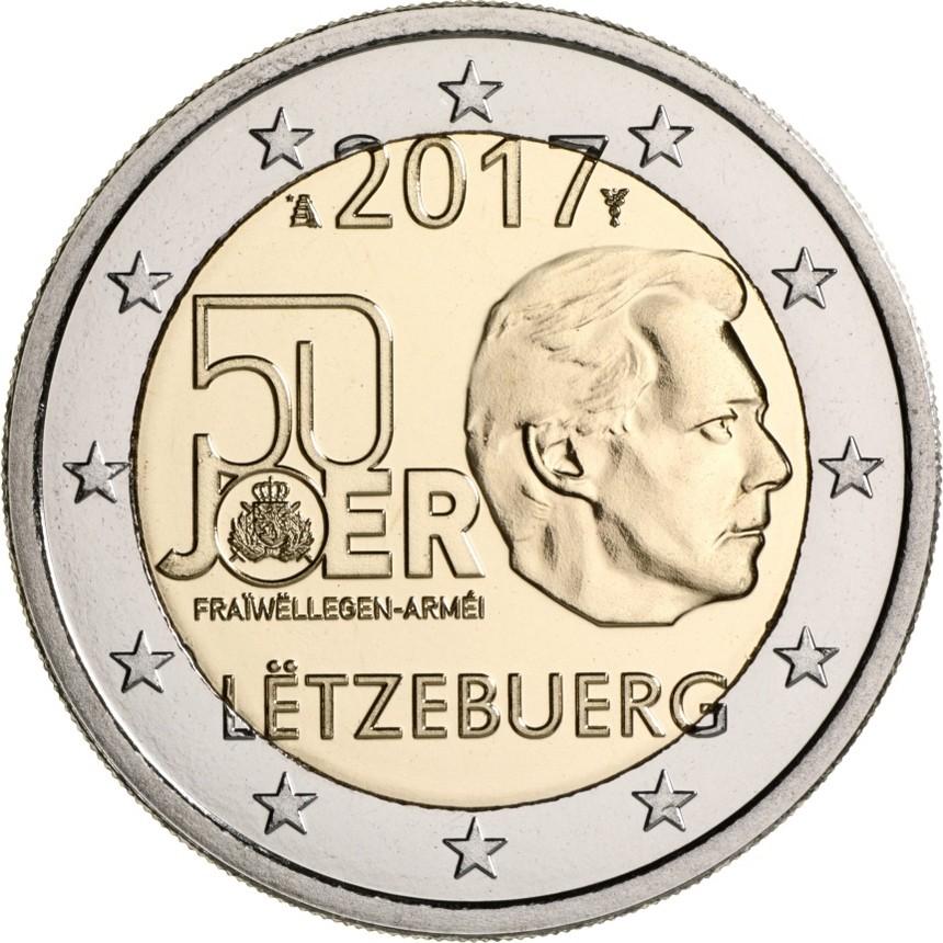 Люксембург 2 евро 2017  50-летие добровольной военной службы