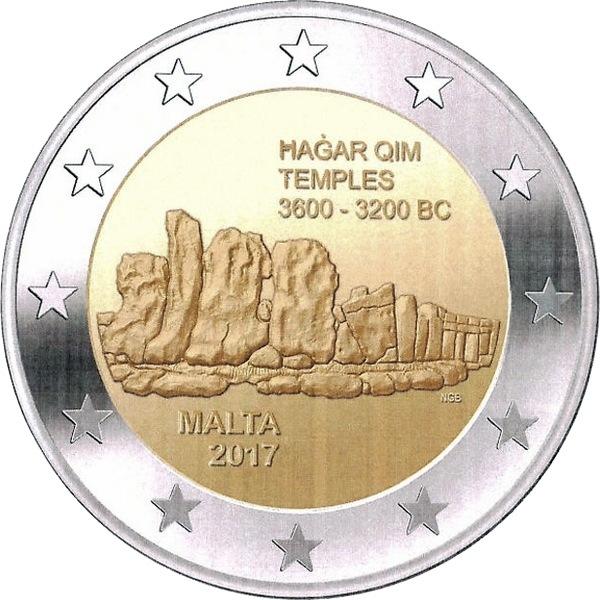 Мальта 2 евро 2017 г. Мегалитический комплекс Хаджар-Ким