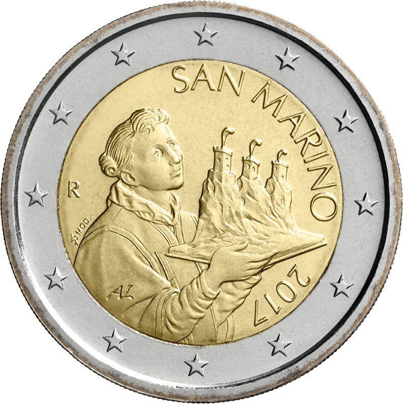 Сан Марино 2 евро 2017 г. (новый дизайн)