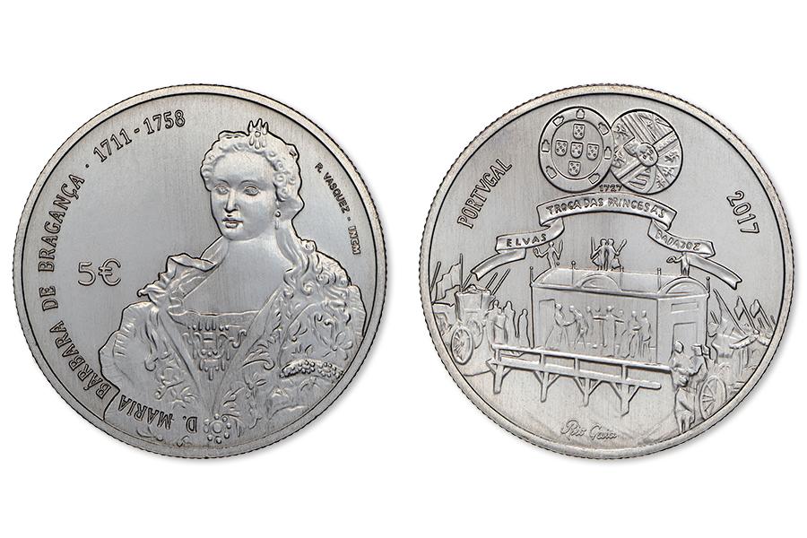 Португалия 5 евро 2017 г. Королева Мария Барбара