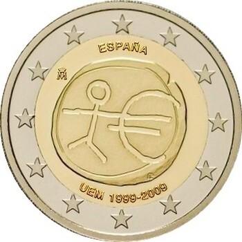Испания 2 евро 2009 г.   10 лет экономическому союзу