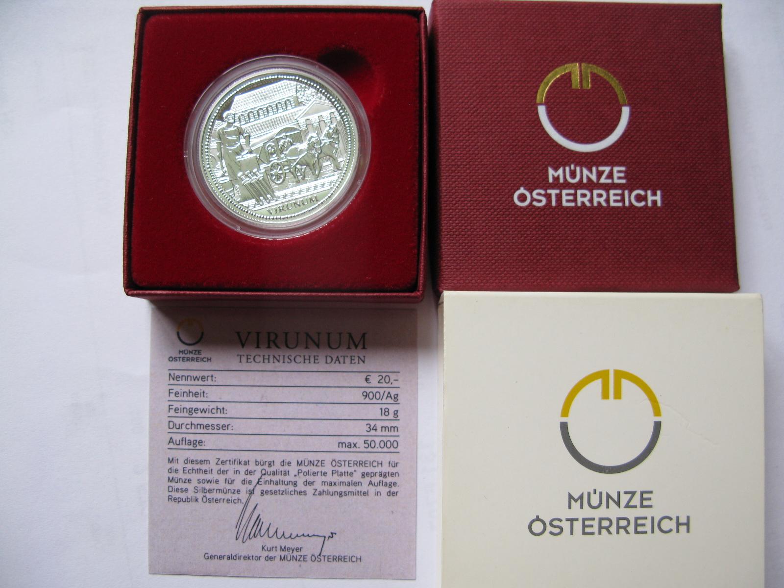 Австрия 20 евро 2010 г. Серия Рим на Дунае