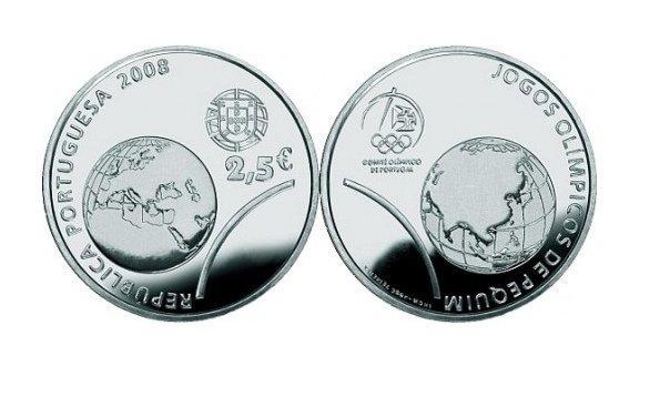Португалия 2,5 евро 2008 г. Олимпийские игры 2008 в Пекине