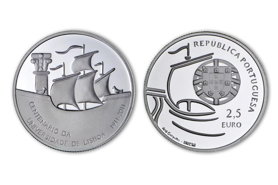 Португалия 2,5 евро 2011 г.  Университет Лиссабона