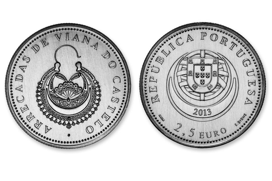 Португалия 2,5 евро 2013 г.  Серьги из Виана-ду-Каштелу