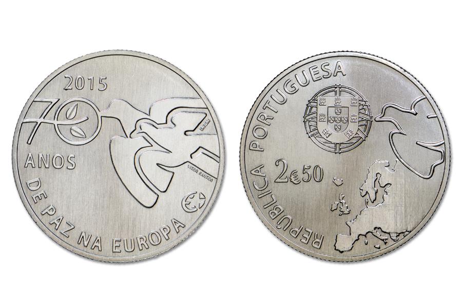 Португалия 2,5 евро 2015 г. 70 лет мира в Европе