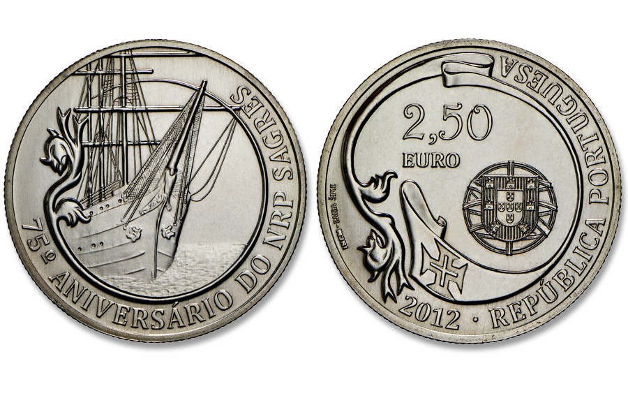 Португалия 2,5 евро 2012 г. Парусник Сагреш