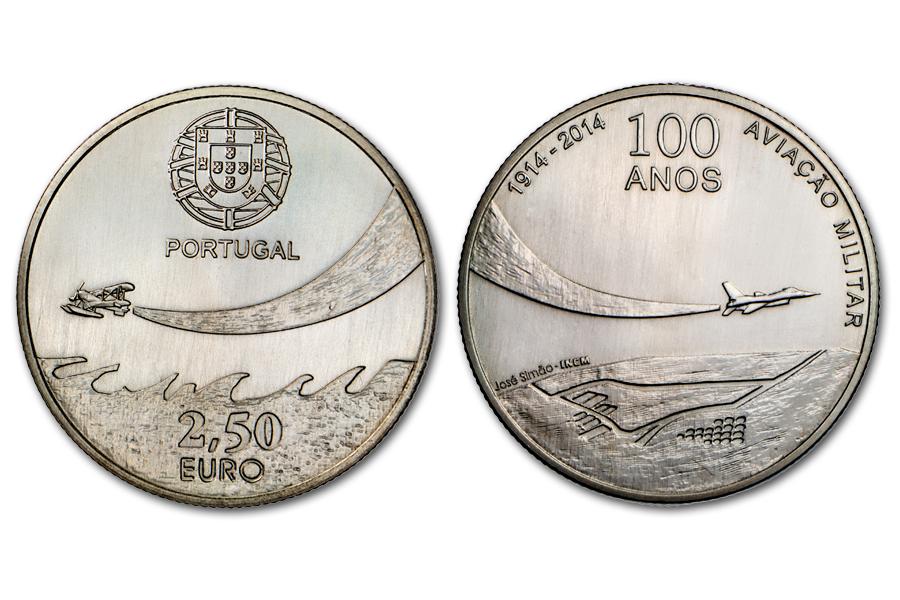 Португалия 2,5 евро 2014 г. 100 лет военной авиации