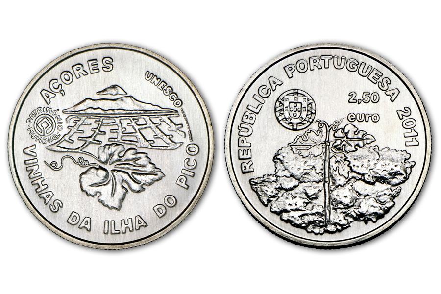 Португалия 2,5 евро 2011 г. Винодельческий регион Пику