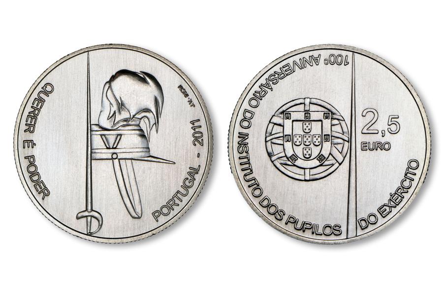 Португалия 2,5 евро 2011 г. 100 лет Военной академии