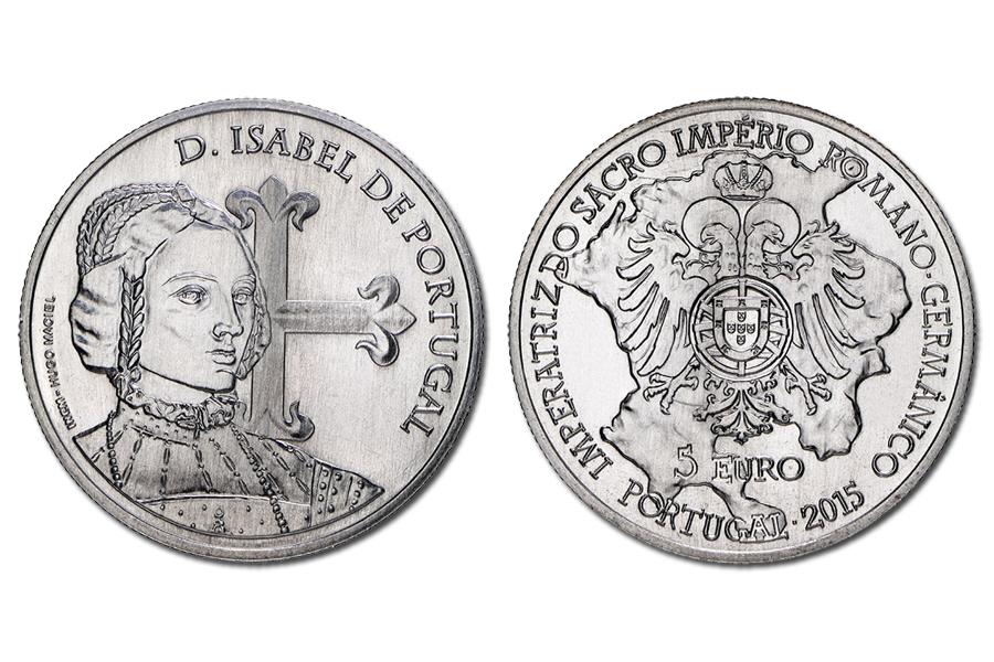 Португалия 5 евро 2015 г. Королева Изабелла