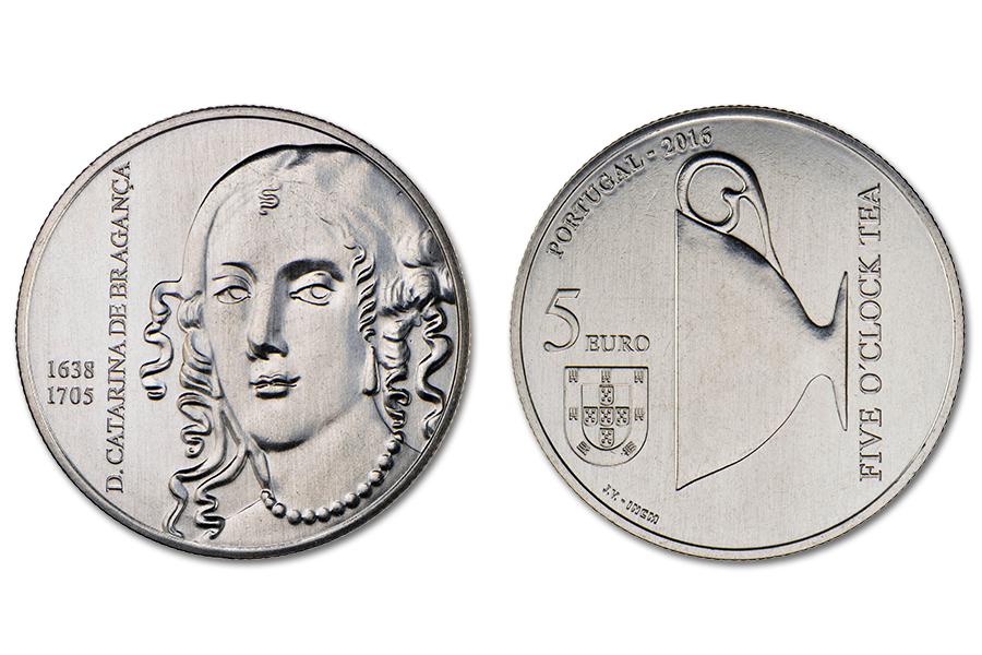 Португалия 5 евро 2016 г. Королева Катерина Браганза