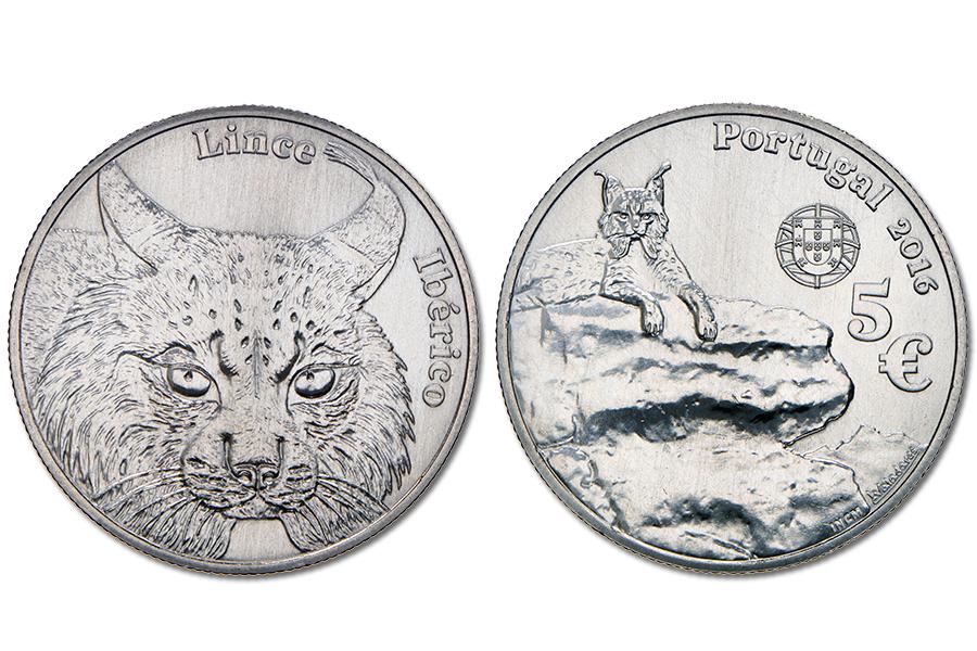 Португалия 5 евро 2016 г. Иберийская рысь