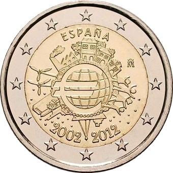 Испания 2 евро 2012 г.   10 лет наличному евро