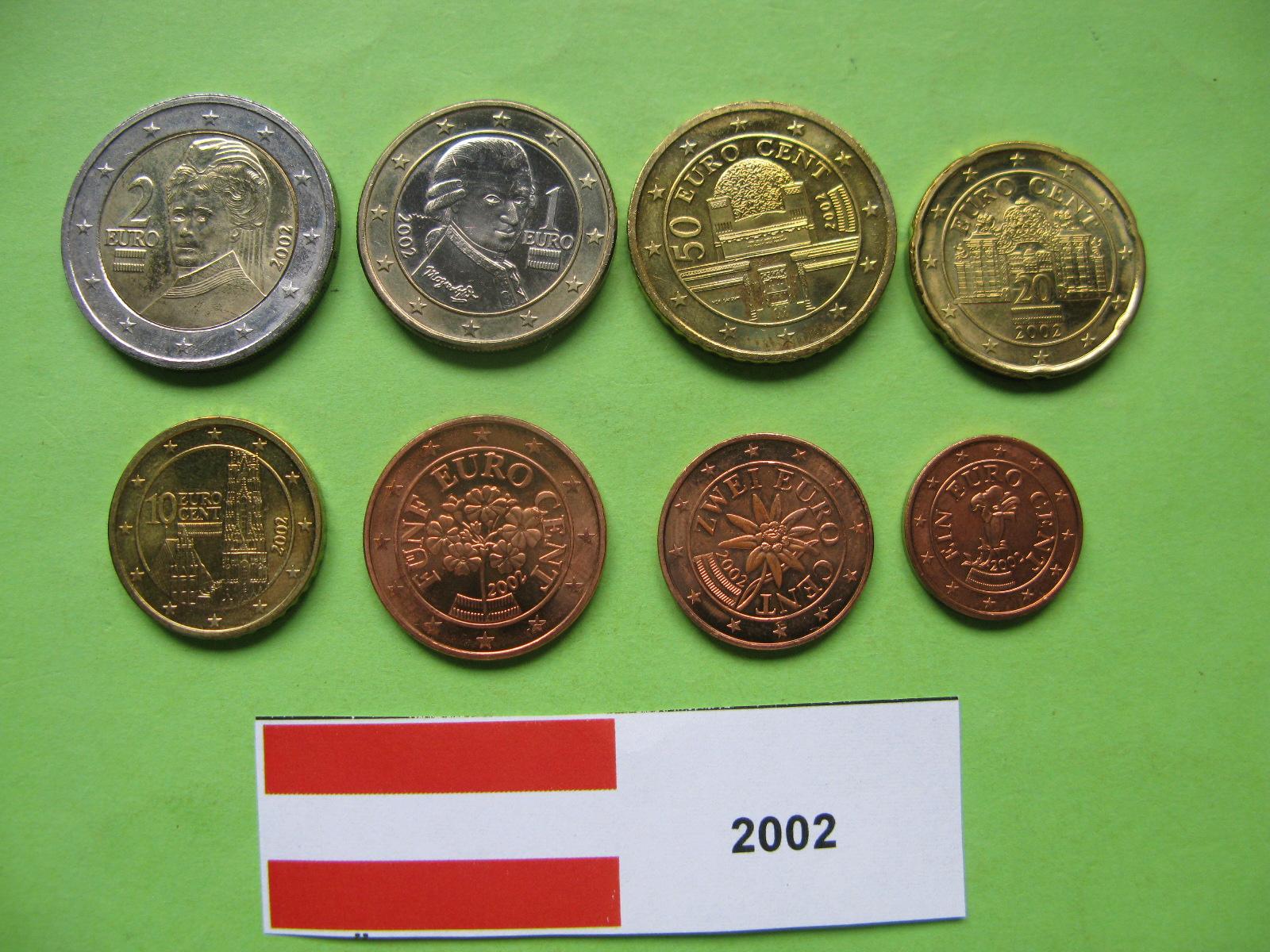 Австрия набор евро 2002  UNC