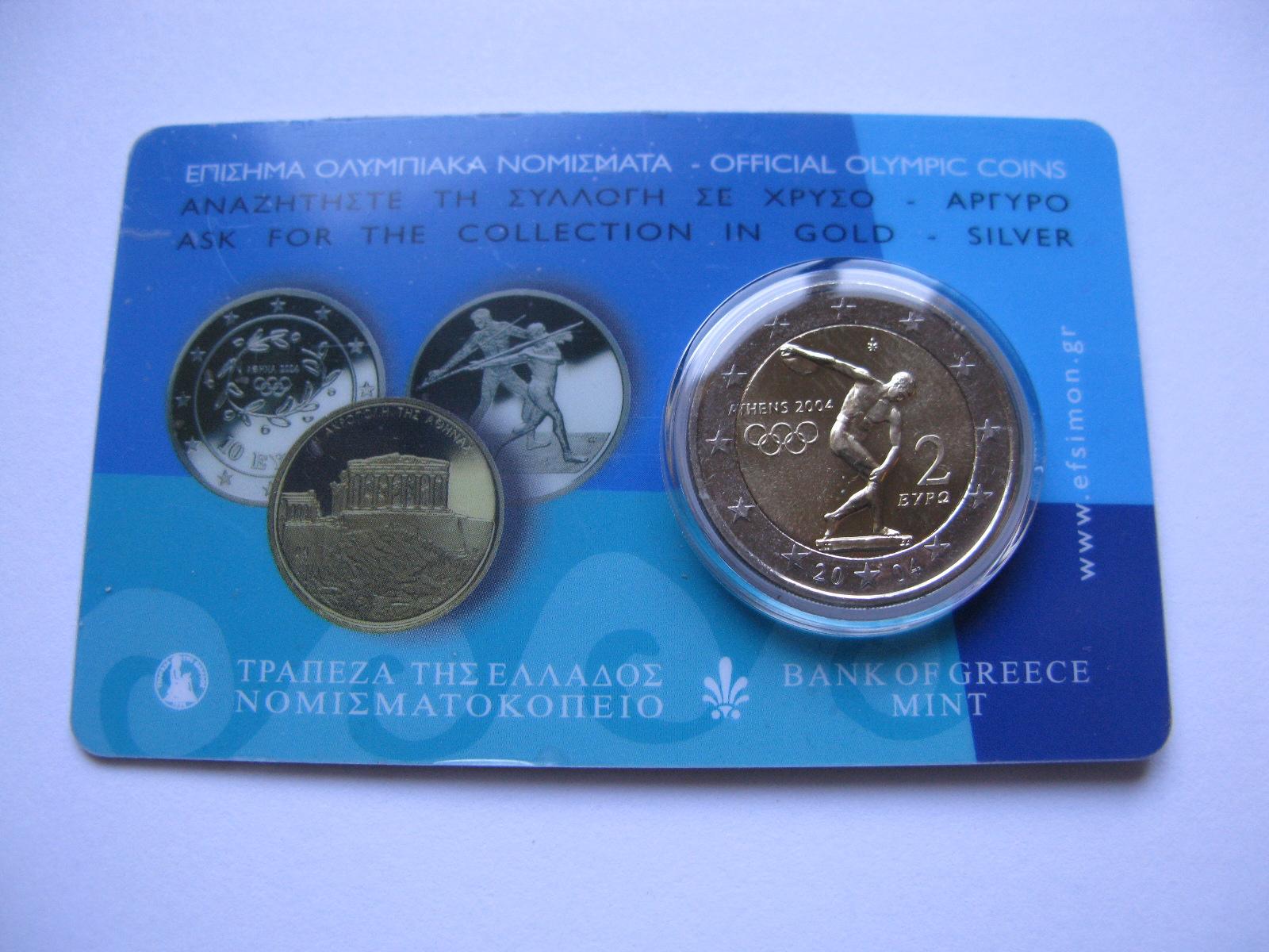 Греция 2 евро 2004 г. Олимпийские игры в Афинах .
