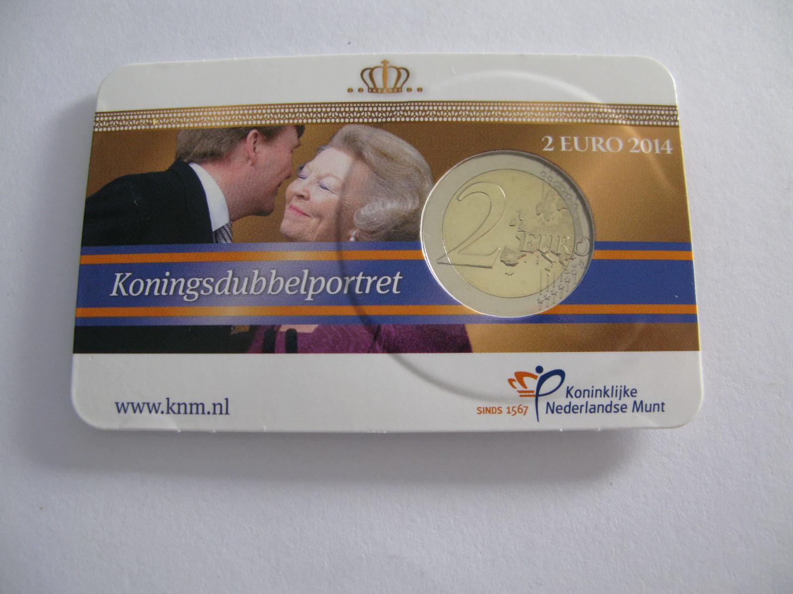 Нидерланды 2 евро 2014 г. Двойной портрет (в карточке)