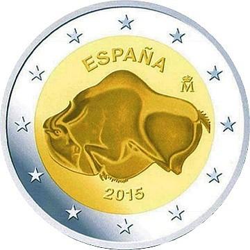 Испания 2 евро 2015 г.   Пещера Альтамира