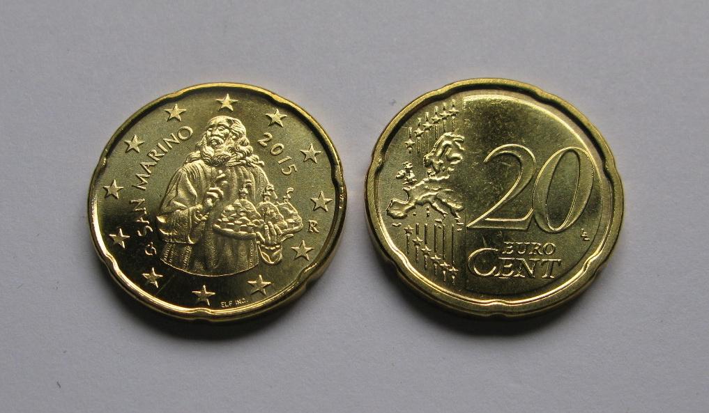 Сан Марино 20 евро центов 2015 г.UNC