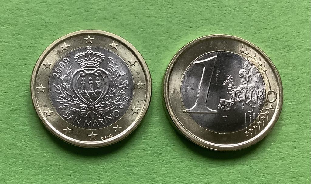 Сан Марино 1  евро  2009 г.UNC