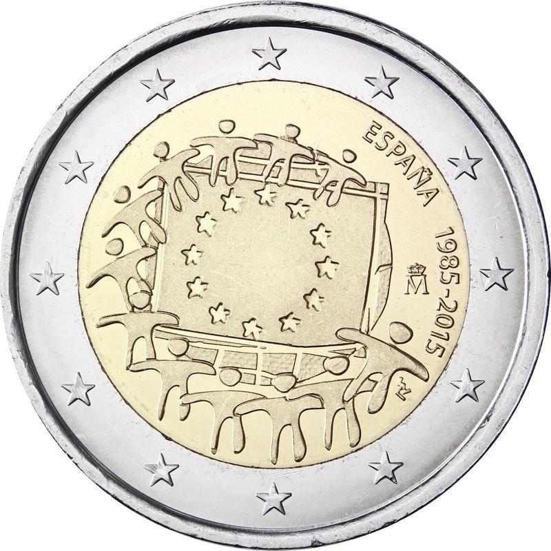 Испания 2 евро 2015 г.   30 лет флагу Евросоюза