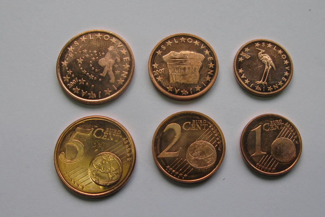 Словения 1 ,2 , 5 евро центов 2007 г. UNC