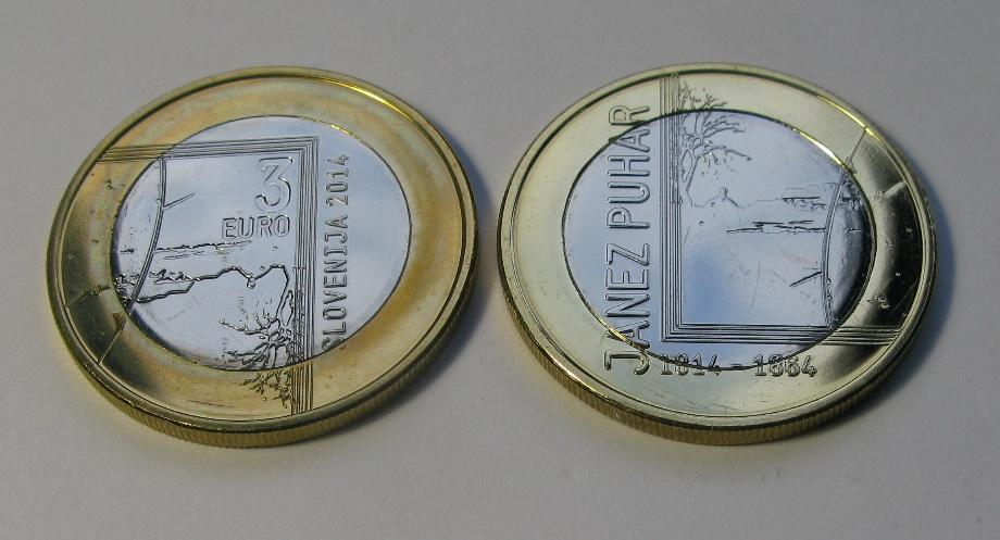 Словения 3 евро 2014 г. 200 лет со дня рождения Янеза Пухара