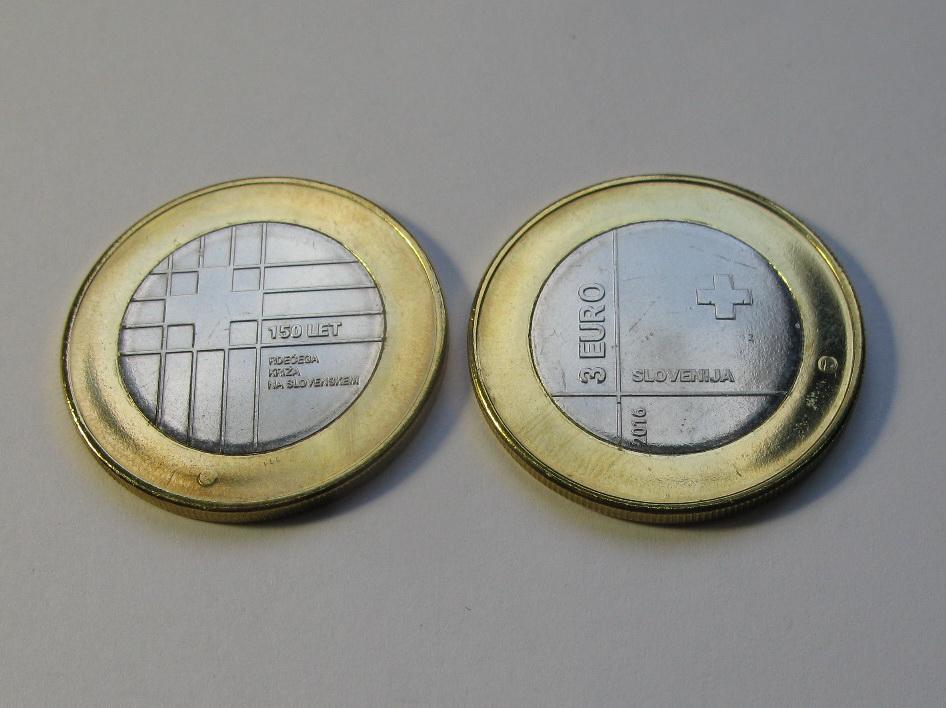 Словения 3 евро 2016 г. 150 лет Красному Кресту Словении