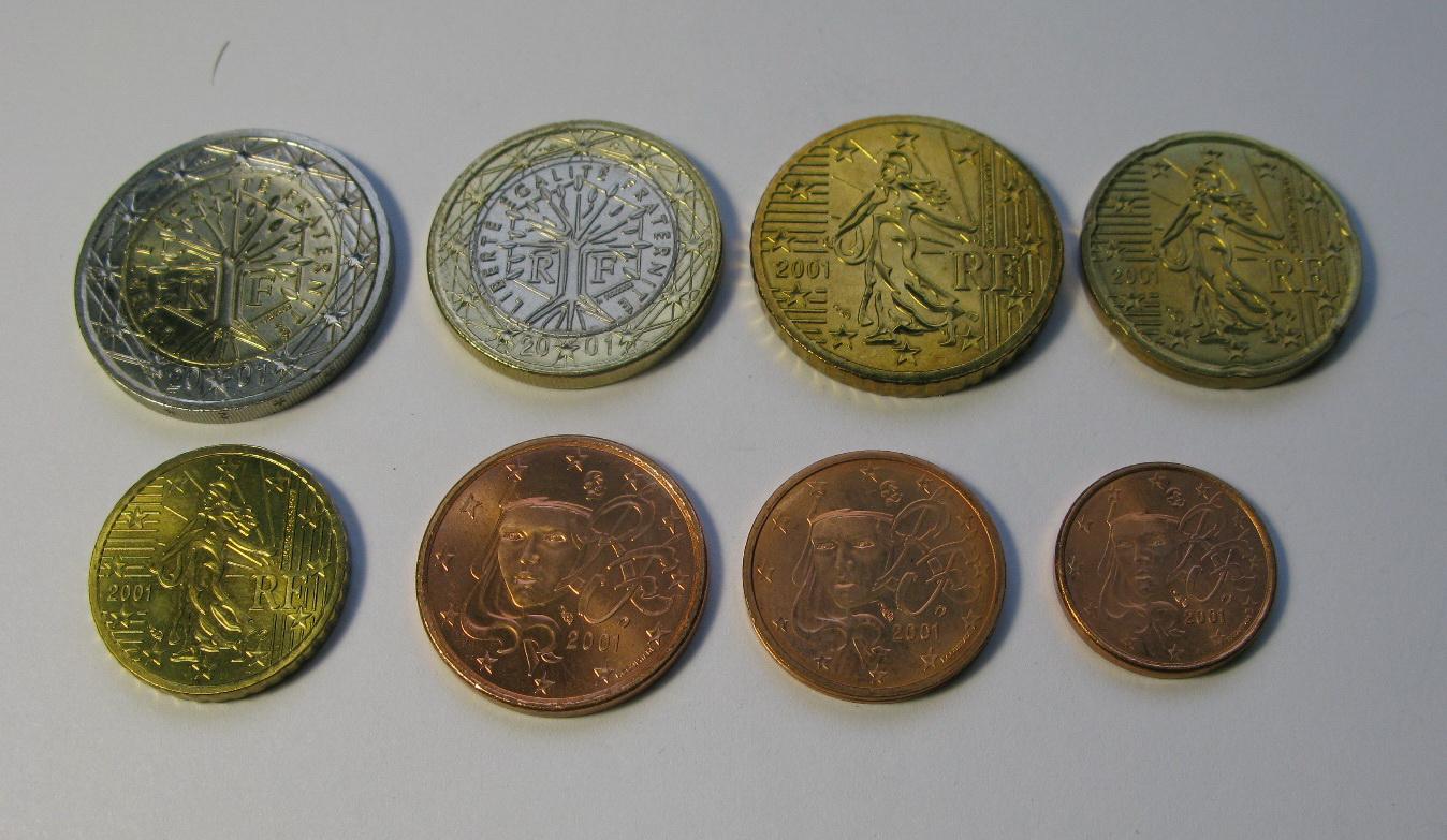 Франция набор евро монет 2001 г.