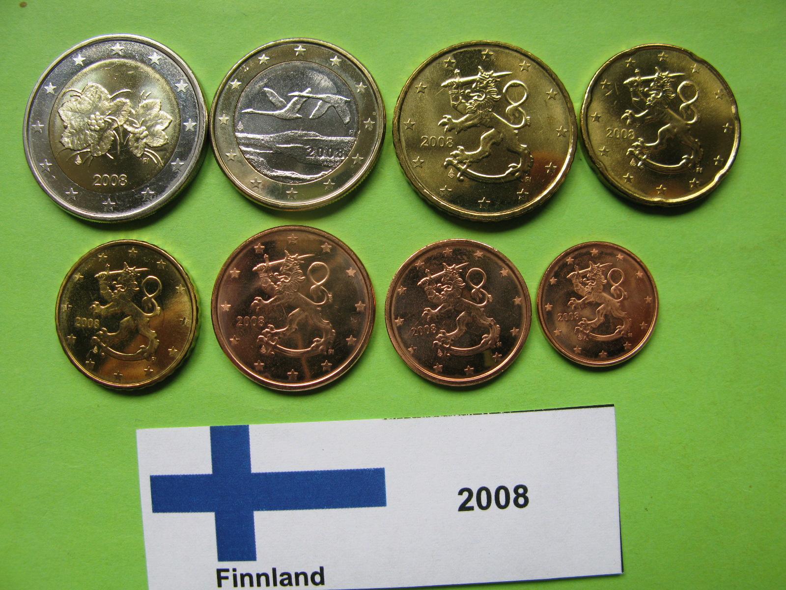 Финляндия набор евро 2008 г. UNC
