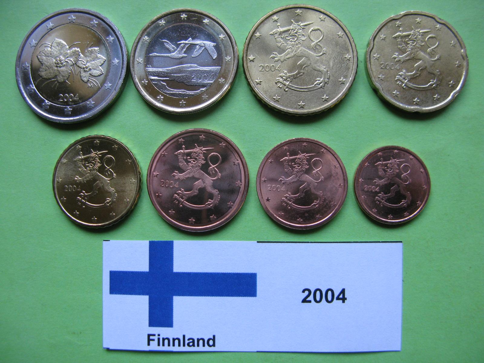Финляндия набор евро 2004 г. UNC