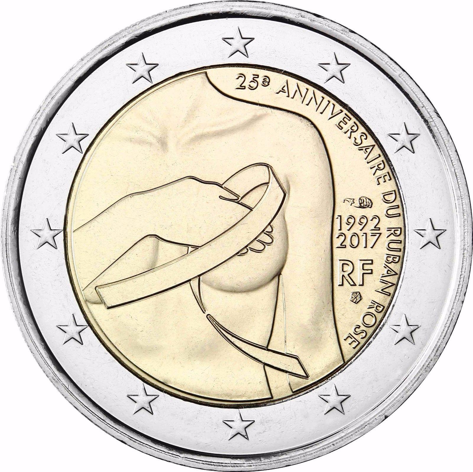 Франция 2 евро 2017 г. Борьба против рака молочной железы. 25 лет розовой ленточке .