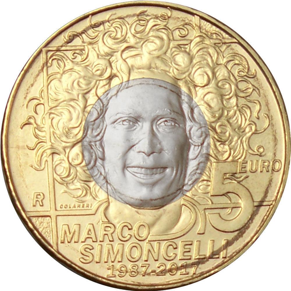 Сан Марино 5 евро 2017 г. 30 лет со дня рождения итальянского мотогонщика Марко Симончелли